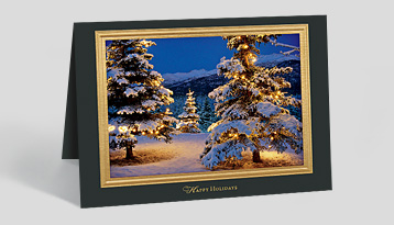 foil embossed frame wphoto - Holiday Christmas Cards